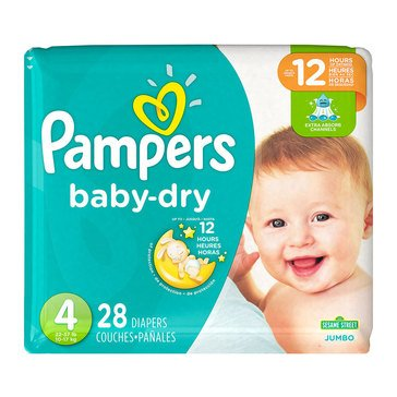 Pampers Baby-Dry Jumbo-Pack 28-Count Diapers, Size 4