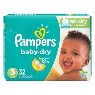 Pampers Baby-Dry Jumbo-Pack 32-Count Diapers, Size 3