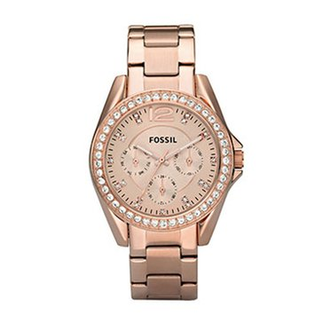 Fossil Women's Riley Rose Gold Tone Glitz Watch