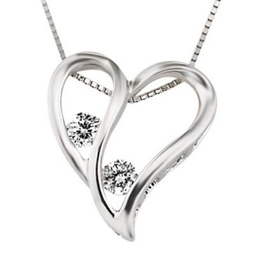 10K White Gold 1/5 cttw Heart Pendant