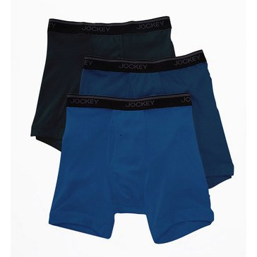 Jockey Men's Stay Cool Plus Midway Boxer Briefs 3-Pack - Blue/Grey/Navy