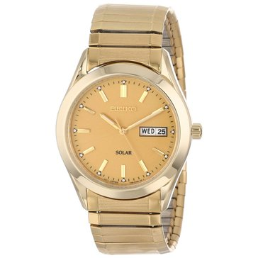 Seiko Men's Solar Gold Tone Expansion Band Watch, 37mm