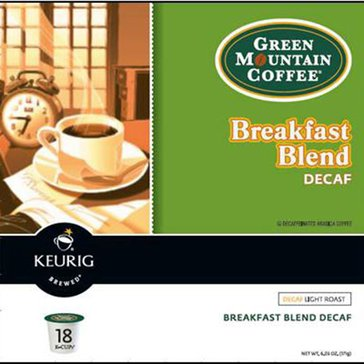 Green Mountain Coffee Breakfast Blend Decaf K-Cup Pods, 18-Count