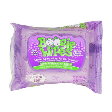 Boogie Wipes Saline Nose Wipes, Great Grape Scent, 30-Count