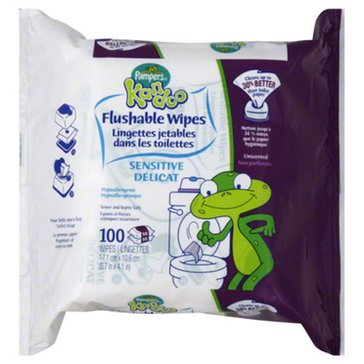 Kandoo Sensitive Flushable Wipes, 100-Count