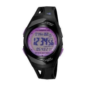 Casio Women's Runner's Digital Watch STR300-1C, Black/Purple 48mm