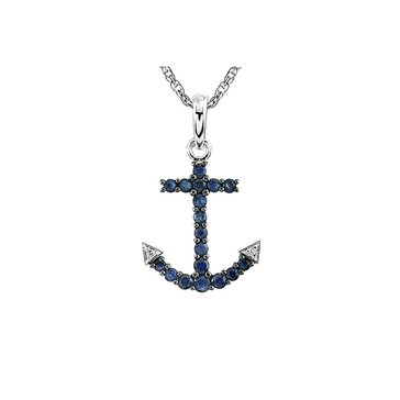 Sterling Silver Diamond and Sapphire Anchor Pendant