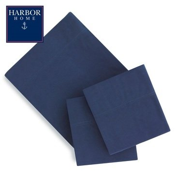 Harbor Home Flannel Sheet Set, Navy - Queen