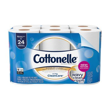 Cottonelle Bath Tissue Clean Care, 12 Double Rolls