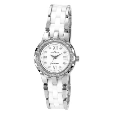 Anne Klein Silver Rounded White Ceramic Crystal Bezel Watch