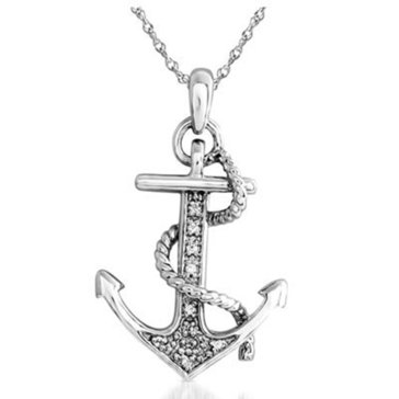 10K White Gold Diamond Anchor Pendant