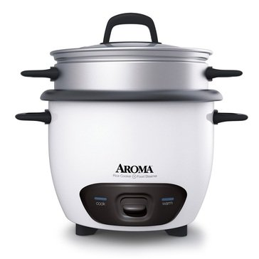 Aroma Pot-Style Rice Cooker & Food Steamer, 6-Cup (ARC-743-1NG)