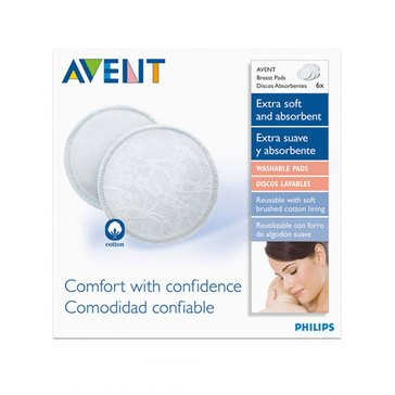 Avent Washable Breast Pads, 6-Count