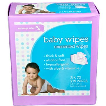 Exchange Select Scented Baby Wipes, 216-Count (3-Pack)