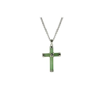 Sterling Silver Dyed Jade Cross