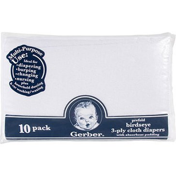 Gerber Newborn 10-Pack Flatfold Prefold Cloth Diapers