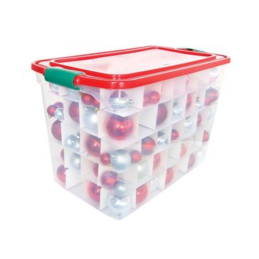 Homz 112-Quart. Latching Clear 140 Ornament Storage Bin with Inserts