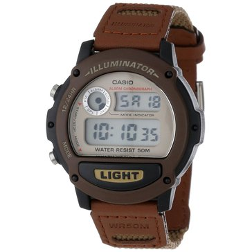 Casio Men's Sport Digital Illuminator Watch W89HB-5AV, Brown Leather & Olive Nylon