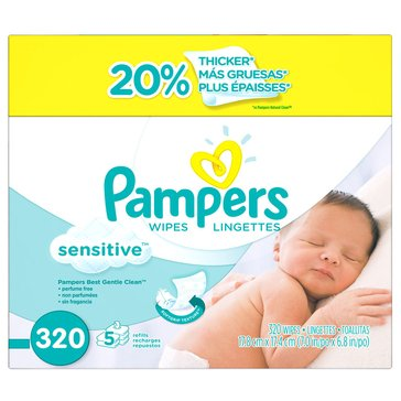 Pampers Sensitive Baby Wipes, 320-Count (5-Pack)
