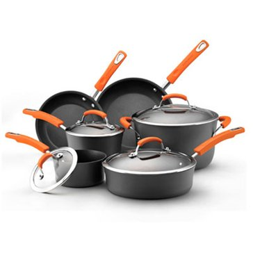 Rachael Ray 10-Piece Hard Anodized Cookware Set, Orange Handles