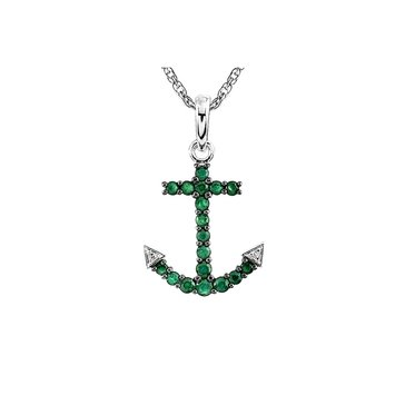 Sterling Silver Emerald And Diamond Anchor Pendant
