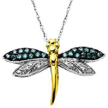 14K & Sterling Silver Dragonfly Pendant