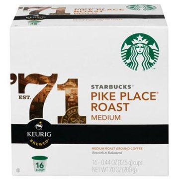 Starbucks Pike Place Roast K-Cup Pods, 16-Count
