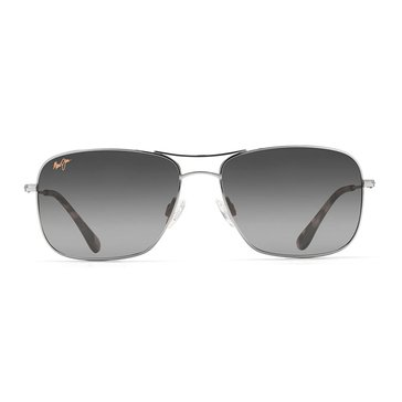 Maui Jim Unisex Wiki Wiki Silver Polarized Aviator Sunglasses