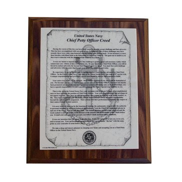 John Wills Studios Inc. New USN CPO Creed Plaque