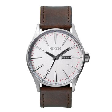 Nixon Men's Sentry Silver/Brown Leather Watch, 42mm