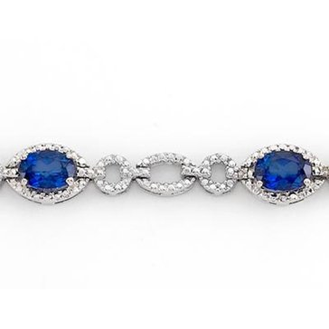 Sterling Silver Created Sapphire Bracelet