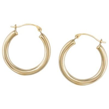 10K 2.5 X 20mm Round Hoop Earring