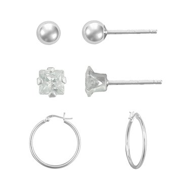 Sterling Silver Set Ball Round Cubic Zirconia Hoop