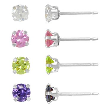 Sterling Silver 4 Pair 4mm Color Cubic Zirconia Earrings