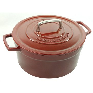 Martha Stewart Collection Enameled Cast Iron 6-Quart Casserole, Red