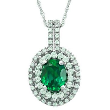 Sterling Silver Created Emerald And Created White Sapphire Pendant