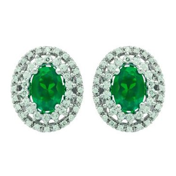 Sterling Silver Created Emerald And Created White Sapphire Earring