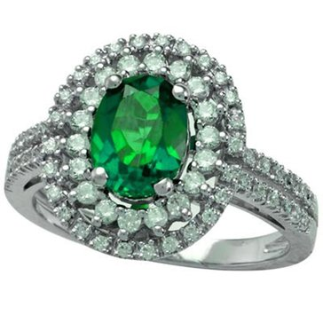 Sterling Silver Created Emerald And Created White Sapphire Ring