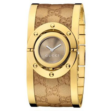 Gucci Women's Twirl Pvd Gold Guccissima Leather Bangle Watch 24mm