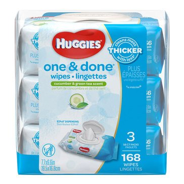 Huggies One & Done Cucumber & Green Tea Scented Baby Wipes, 168-Count (3-Pack)