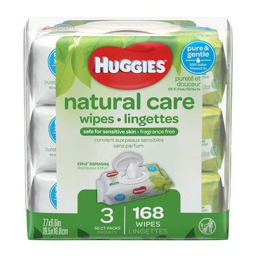 Huggies Natural Care Unscented 56-Count Baby Wipes (3-Pack)