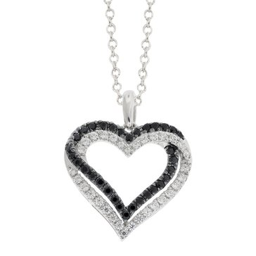 Sterling Silver 1/2 cttw Black and White Diamond Heart Pendant