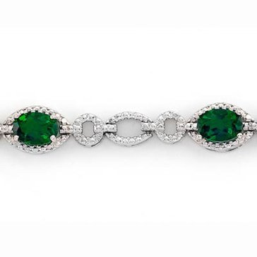 Sterling Silver Created Emerald Bracelet
