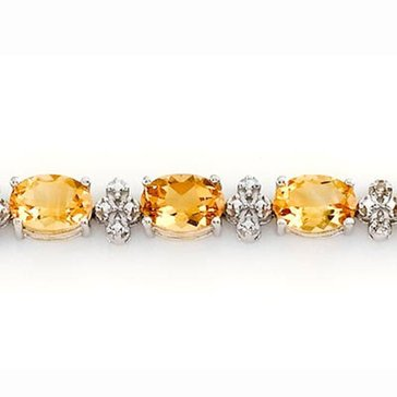 Sterling Silver Citrine and Diamond Bracelet