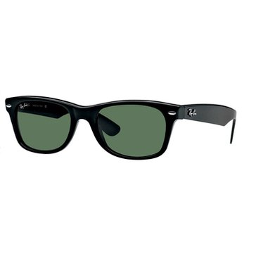 Ray-Ban Unisex New Wayfarer Classic Polarized Sunglasses RB2132, Black/ Green Classic G-15 55mm