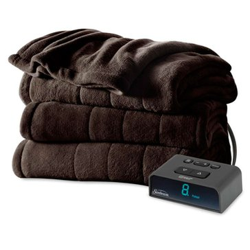 Sunbeam Plush Electric Blanket, Walnut - Full