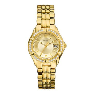 Guess Women's Gold-Tone Crystal Accent Watch 35mm