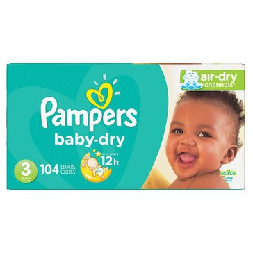 Pampers Baby Dry - Size 3, Super Pack 104-Count