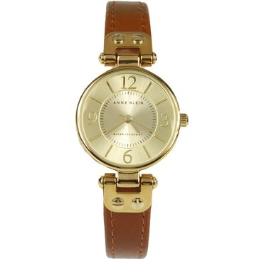 Anne Klein Women's Leather Honey / Gold Leather Watch, 26mm