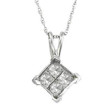 10K White Gold 1/2 cttw Quad Princess Pendant